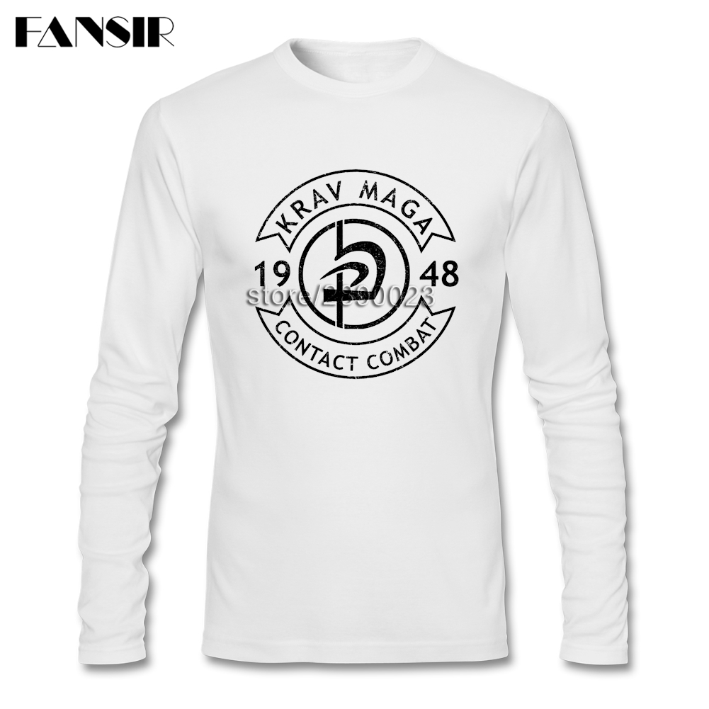 New Design Tee  Shirts Men Boy Krav Maga Round Neck Long Sleeve Cotton Men Shirts XXXL