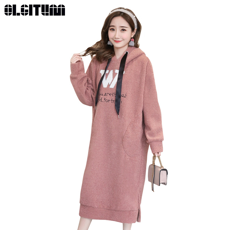 New 2018 Autumn And Winter Women Korean Fashion Letters Large Size Hooded Lambskin Women Sweatershirt Dress In Many Styles Women's Clothing