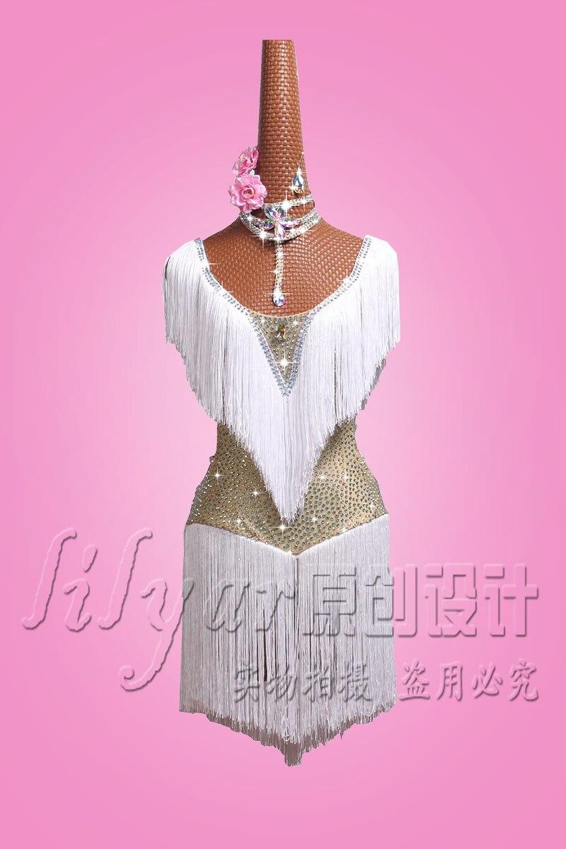 Customized Latin Dance Dresses Latin Dance Performing Dresses Latin Dance Skirt Female Bellux Skirt Shining Water Diamond