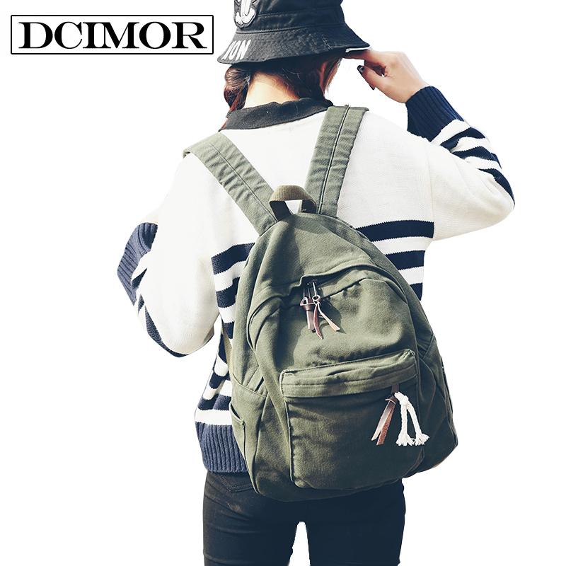 DCIMOR Women School Backpack For Teenage Girls Large Capacity Female Canvas Backpack Unisex Student Schoolbag Mochila Escolar