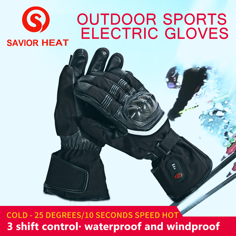 SAVIOR heated motorbikes glove outdoor fishing riding racing full fingers fast heating keep warm 40 65