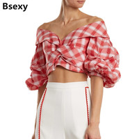 Womens Tops And Blouses 2018 Sexy Off Shoulder Crop Top Summer Cute V Neck Plaid Women