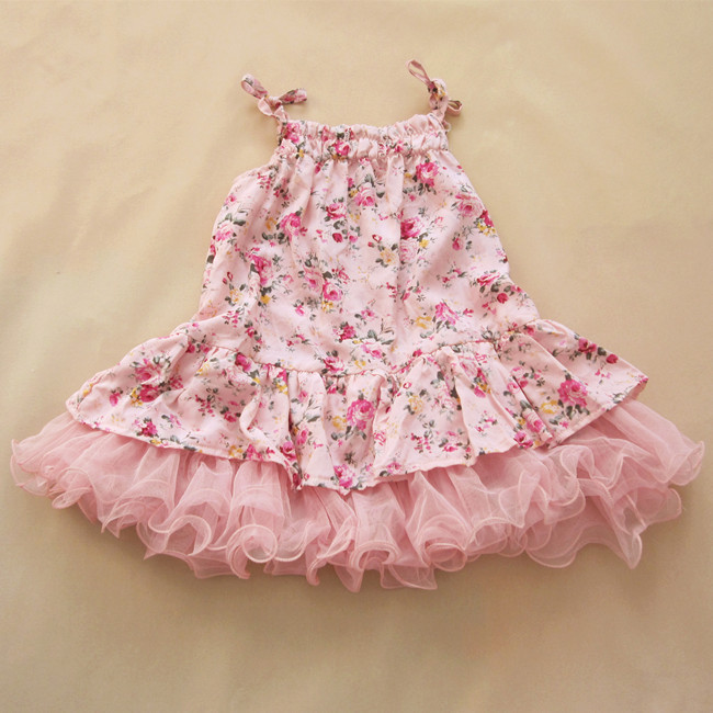 EMS DHL Free Shiping Toddler Girls Rose rosette Summer Princess Holiday Party Strap Dress lace dress Children clothes Pink Blue - Miss Girls-- Factory Clothes store