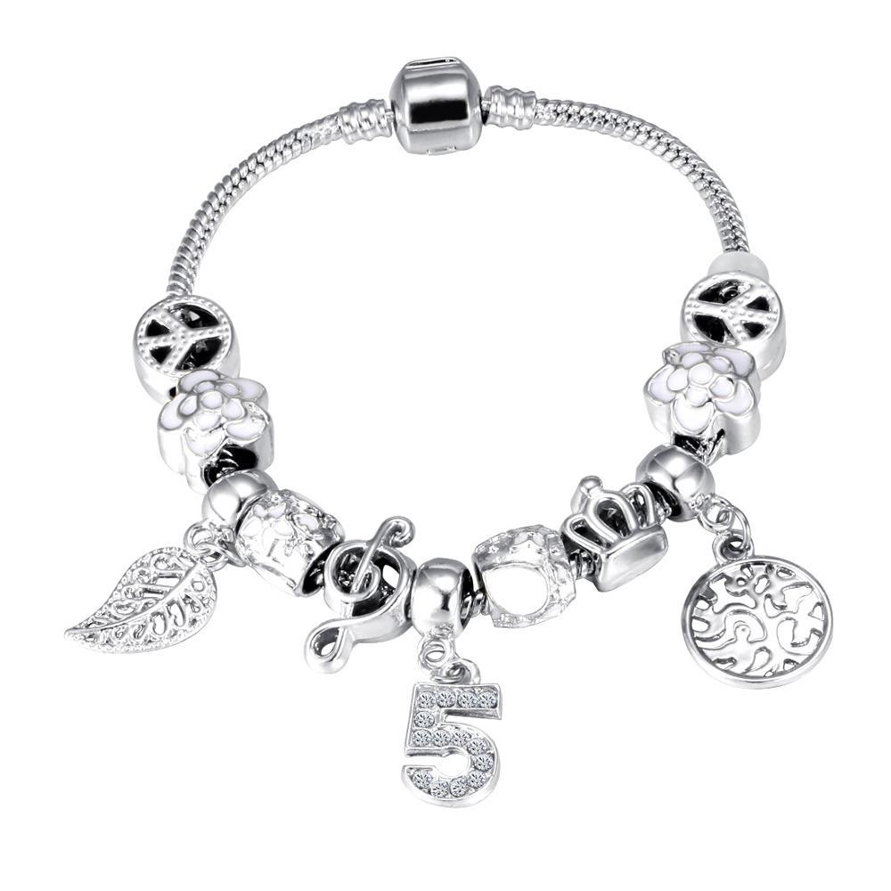 Pink Crystal Charm Silver Bracelets & Bangles for Women  Beads Silver Bracelet Femme Jewelry 8