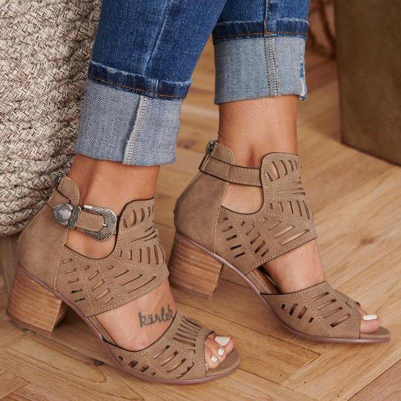 2019 Women Fashion Vintage Hollow Out Peep Toe Square Heel Wedges Sandals High Heels Shoes Zapatos Mujer Women Sandals