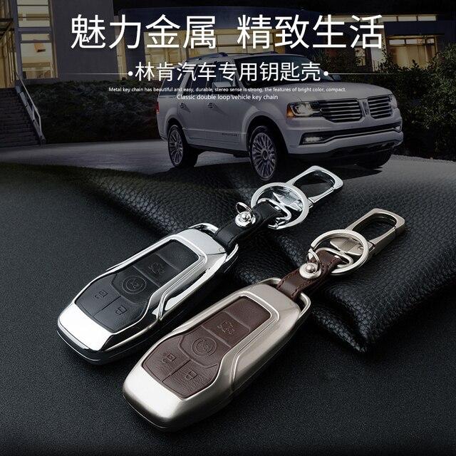 Настоящее натуральной кожи ключ защитный кожух для Lincoln MKZ MKX МКС 4 Кнопки Смарт брелок случае Держатель Ключа бумажника аксессуары