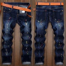 New Designer Dots Print Biker Jeans Men,Character Ripped Patchwork Casual Men's Jeans Pants,100%Cotton Fashion Large Size 28-38