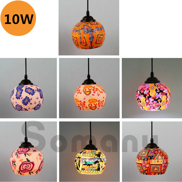 ФОТО Romantic Colorful Led Lights Heavy Color Picture Pattern 10w Small Pendant Light AC220V for Corridor Balcony Foyer