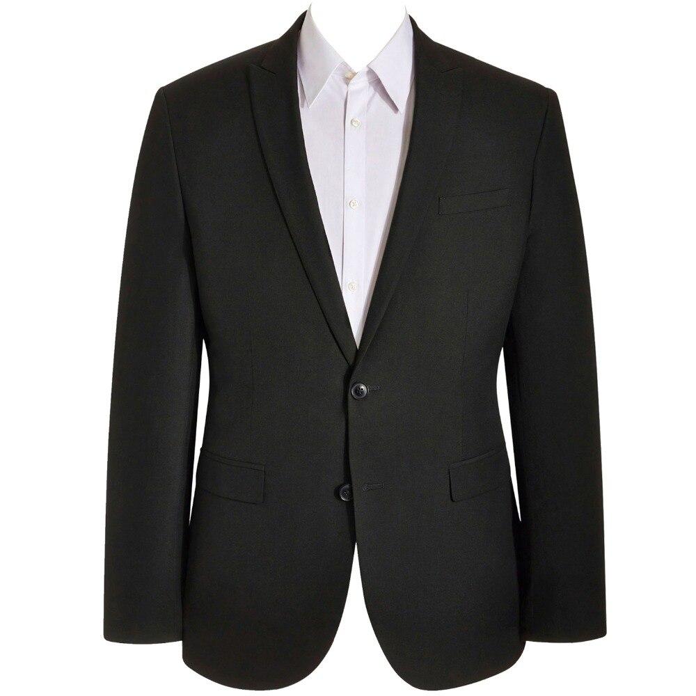 HCF by Air hommes 1 pièce 2 bouton col plat Skinny formel couleur unie mode Designs vêtements hommes costumes veste noir