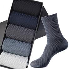 купить High Quality New Brand Men Bamboo Fiber Socks Plus size 43-46 Casual Business Anti-Bacterial Breatheable Man Long Sock For Gift дешево