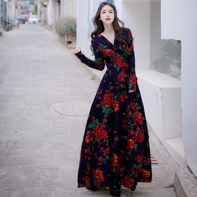 buy bohemian style print rose dress long. Black Bedroom Furniture Sets. Home Design Ideas