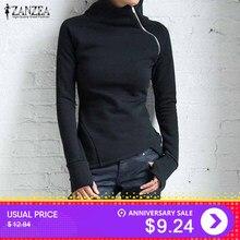 ee383d116d5 ZANZEA Women Hoodies Sweatshirts 2019 Autumn Casual Turtleneck Long Sleeve  Zippers Slim Fit Blusas Pullovers Plus Size Solid Top