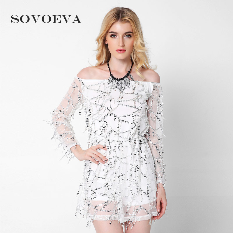 Buy Cheap SOVOEVA 2017 Mini Sexy Dresses Party Night Club Wear Nude Color Off Shouder Sexy Kleid Tassel Sequin Dress Women Party Dresses