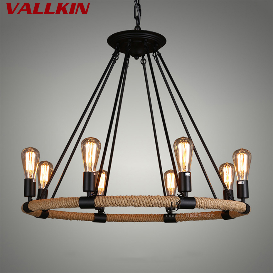 Mordern Nordic Retro Edison Bulb Light Chandelier Vintage Loft Antique Adjustable DIY E27 Art Ceiling Lamp Fixture Lamps Light