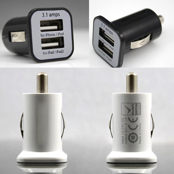 New Micro 3.1A Double Dual USB Car Charger Adapter For IPhone Xs Max XR X 8 7 6/ipod/ipad/Samsung/All Mobile Phone 200pcs/lot-in Car Chargers from Cellphones & Telecommunications    2