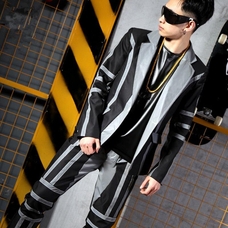 Costumes Bar veste Marée Costume Discothèque Fluorescent Hop Chanteur Lumière Gris Pantalon jacket Réflexion Hip Masculins Jacket De Outfit Hommes Manteau Stade Pants Only WggzCn