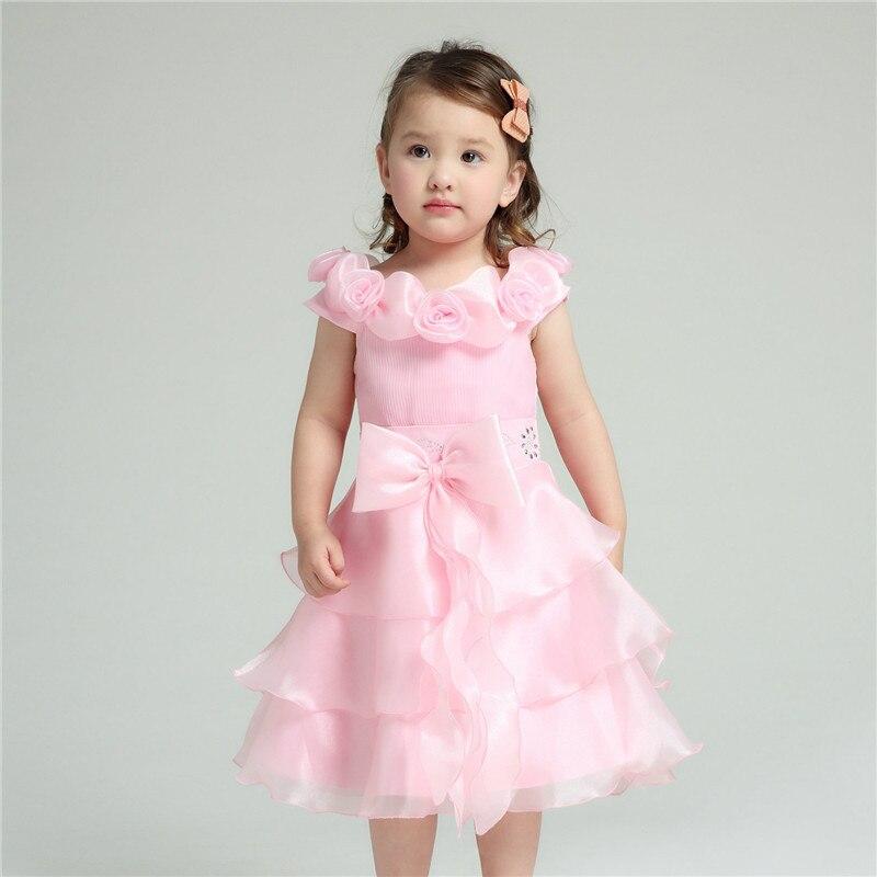 Pink formal girl dresses children wedding princess flower for Dresses for 10 year olds for a wedding