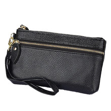 Genuine Cow Leather Women Wallet Zipper Long Coin Purse Fashion Brand Designer Cell Phone Money Bag hot sell new thick purse fashion women zipper wallet wristlet bag with serpentine genuine cow leather
