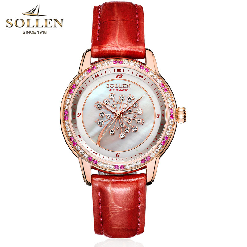 SOLLEN Brand Fashion Luxury Women Watches Lady Watch Gold Automatic Mechanical Wrist Watch Leather Ladies Watches Gifts PresentSOLLEN Brand Fashion Luxury Women Watches Lady Watch Gold Automatic Mechanical Wrist Watch Leather Ladies Watches Gifts Present