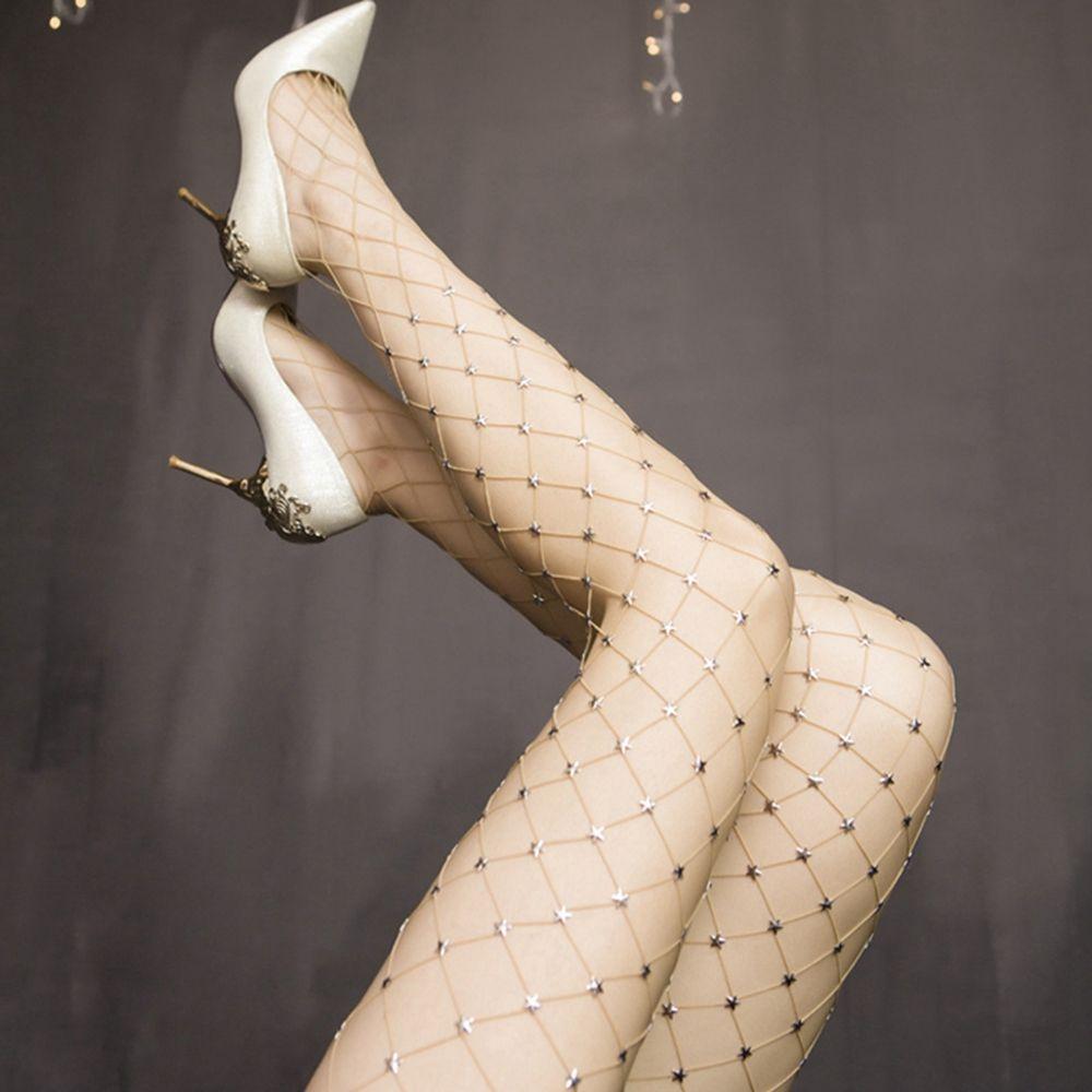 1 Pcs Sexy Women New Shine Crystal Thin Fishnet Tights Stockings Pattern Pantyhose Mesh Shiny Star High Elastic Tights