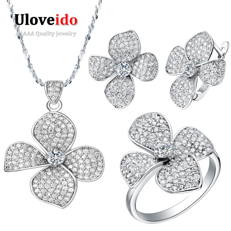 50% Off Uloveido Silver Color Jewelry Wedding Jewelry Set Necklaces & Pendants Flower Earrings Rings White Clear Zircon T001