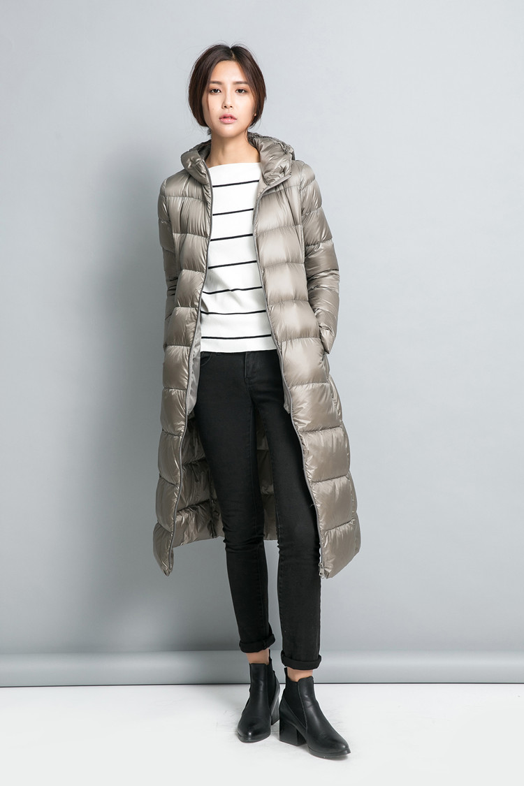 New Spring Winter 90 White Duck Extra Long Down Jacket
