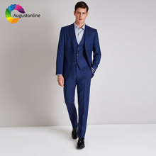 Custom Made Royal Blue Men Suits for Wedding 3 Pieces Pants Vest Best Man Blazers Jacket Slim Fit Groom Tuxedos Terno Masculino