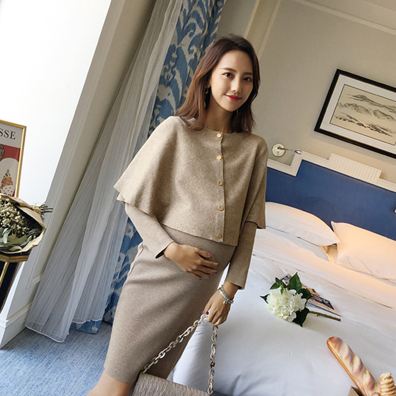 5067 Cloak Cape Long Sleeve Maternity Dresses Autumn Korean Fashion Clothes for Pregnant Women Fall Winter