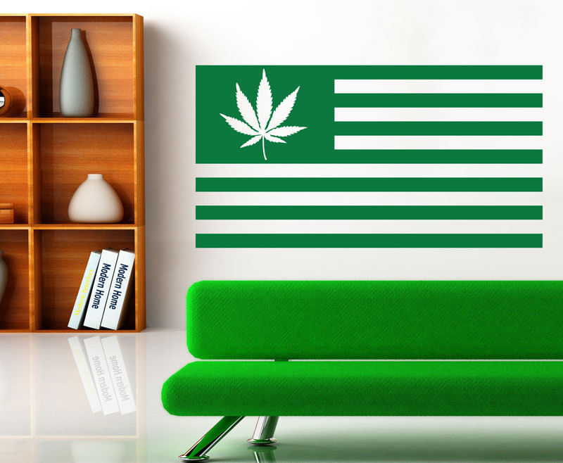 High Quality Vinyl Wall Art Decals Sticker Home Decor Leaf Weed Usa Flag Living Room Wall