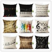 Retro Vintage Music Series Note Printed Linen Cotton Square 45x45cm Home Decor Houseware Throw Pillow Cushion Cojines Almohadas
