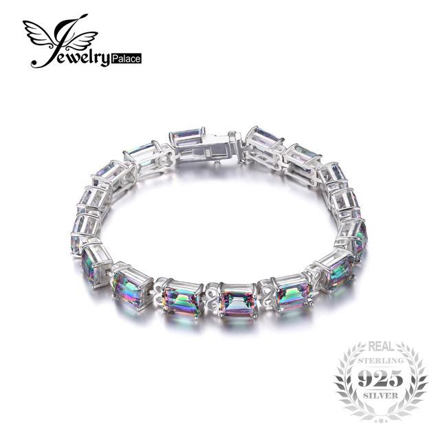 Jewelrypalace 28ct natural rainbow fogo místico topaz pulseira de tênis para as mulheres do presente do amor puro 925 prata esterlina jóias finas