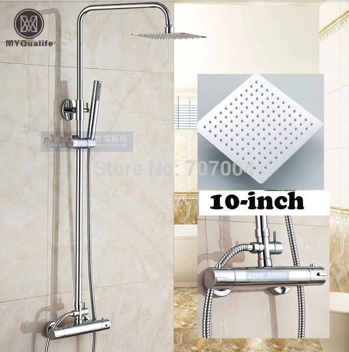 10 Square Brass Rain Showerhead Thermostatic Shower Set Mixer Faucet ABS Handshower Chrome Finished bathroom chrome shower faucet set with thermostatic mixer valve wall mount 8 ultrathin rain showerhead handshower