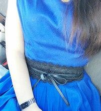 Pattern Weaving Belt for Women Bowknot Faux Leather Lace wide belt Self Tie Obi Cinch Waist Band Boho Belt Cinto Fashion Belt