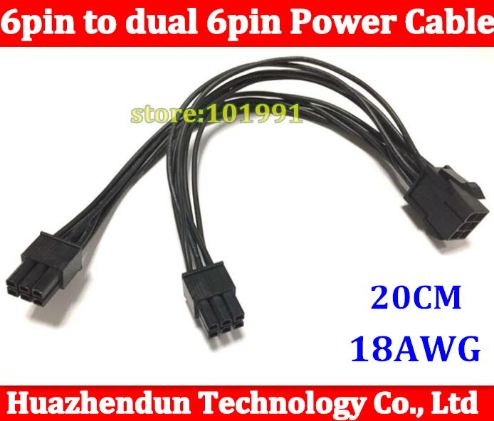Free DHL/EMS 100PCS 6Pin Female to Dual 6Pin Male Power Cable for Video Card 20CM V-Splitter VGA Adapter Cable Cord 18AWG 6P 6p factory promotion obd2 16pin to db9 rs232 for car diagnostic extension cable adapter scanner wholesale 25pcs lot dhl ems
