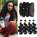 7A Body Wave Lace Frontal Closure with Bundles Mocha Hair 13*4 Full Lace Closure with Baby Hair Peruvian Wavy Hair with Frontal