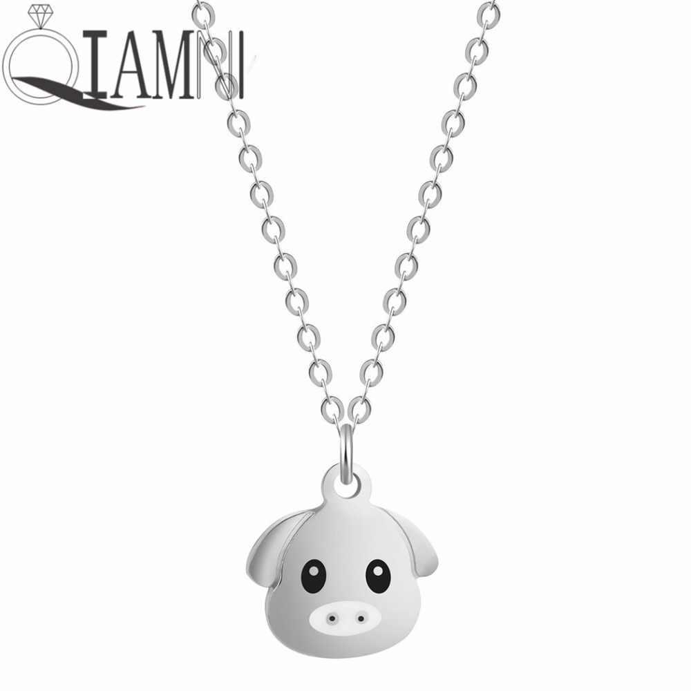 QIAMNI ze stali nierdzewnej Cartoon piękny zwierząt świnia naszyjnik wisiorek dla kobiet obroże dla psów przyjaźń biżuteria Pet Lover prezent