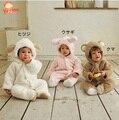 2016 Nova Moda Outono Inverno Bebê Menino e Menina Rompers Roupas de Bebê Quente de Pelúcia Estilo Animais Romper Do Bebê Bonito roupas