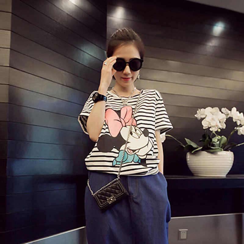 Camiseta estampada mickey feminina, de manga curta, estampada, para o verão, casual, estilo femme, listrada, colorida