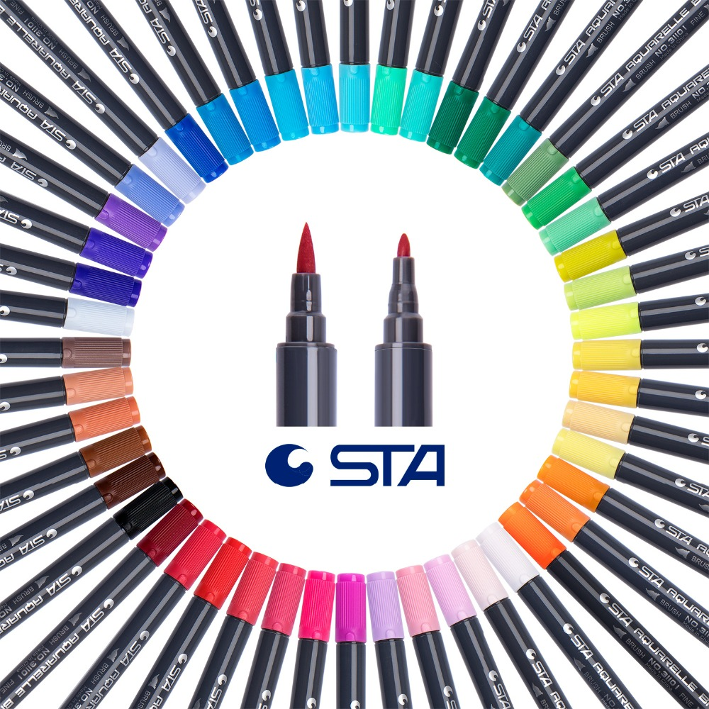 STA 36/48Colors Dual Head Watercolor Brush Marker Pen Set with Fine Tip for Coloring Books Hand Paint Drawing Art Sketch Markers sta brush marker pens fine point markers set of 36 colors for bullet journal adults coloring book note taking writing planning
