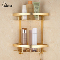 Raum Aluminium Messing Gold Bad Regale Europäischen Pinsel Fertig Coner Bad Kosmetik Basket Wall Mounted Lagerregal