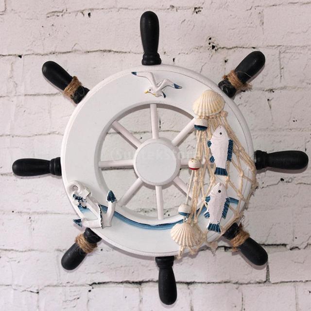 9 Beach Wooden Boat Ship Steering Wheel Fishing Net Home Wall Decor 1