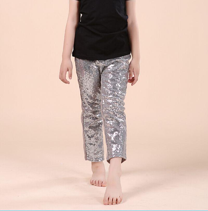 9cc730617b718 طماق الفتيات السراويل الترتر الفضي بريق الرجل الرمادي العودة إلى المدرسة  طفل فتاة الصيف ملابس الاطفال أزياء عيد