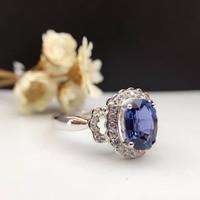 Solid 18 K Gold 1.259ct Echt Sapphire Vrouwen Ring 0.142ct Diamanten Ingelegde Bruiloft Verlovingsring sapphire-sieraden
