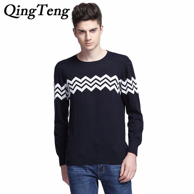 QingTeng Envío Gratis Otoño Invierno Caliente Suave Suéter de Los Hombres Suéteres De Cachemira Jersey De Lana Merino Hombres O-cuello Pull Homme