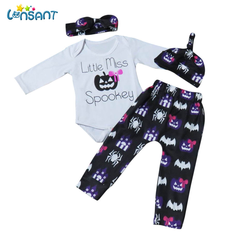 LONSANT Newborn Infant Baby Girl Casual Letter Long Sleeve Romper Tops+Pants Halloween Outfits Clothes 1Set
