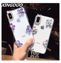 XINGDUO Luxury Bling Crystal Diamond Transparent Case Rhinestone Phone Cover For iPhone X 7 8 Plus 6 6S 5S XS MAX XR