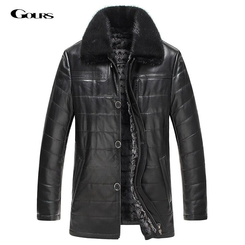 Gours Winter Mens Genuine Leather Jacket Brand Clothing Sheepskin Coat Rex Rabbit Fur Parka with Mink Collar 2018 New