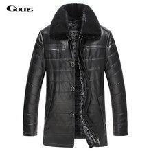 Gours Winter Mens Genuine Leather Jacket Brand Clothing Sheepskin Coat Rex Rabbit Fur Parka with Mink Collar 2016 New