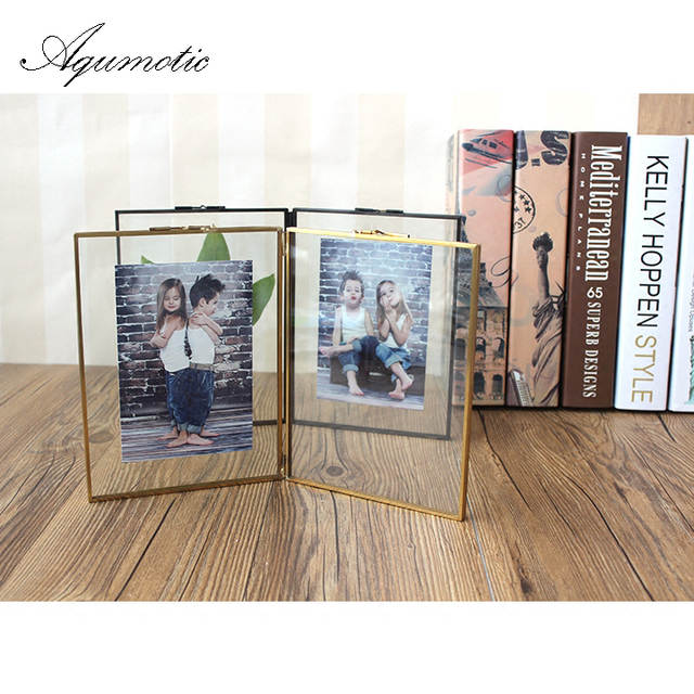 Aqumotic Black Both Sides Picture Frames Gold Key Chain Square Photo Frame  Wall Sticker 1pc Line 2c01b0cdd8f0