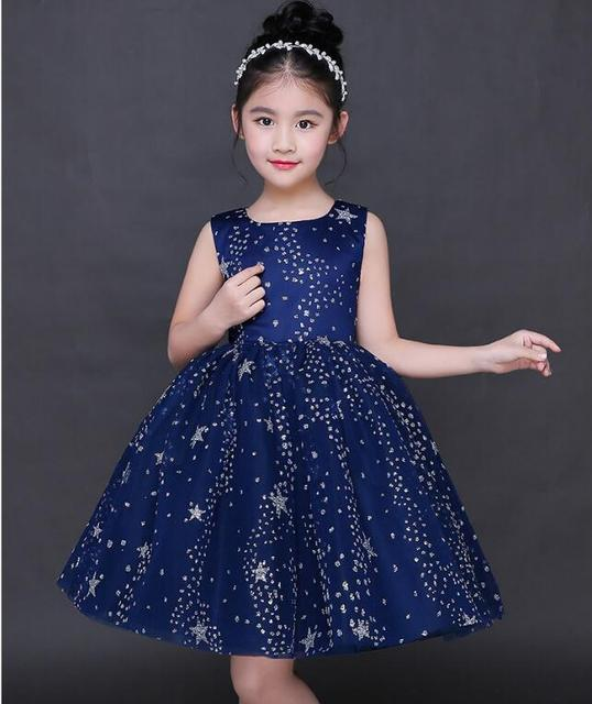 Glizt Blue Tulle Exquisite Stars Sequin Girl Princess Dress Kids